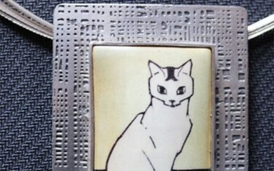 Art Heaven Jewelry - Vintage & Sterling Silver Silver - Cat Pendant With Choker