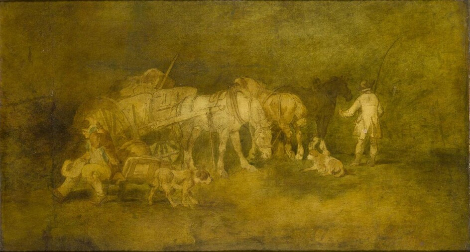 Attributed to George Morland, British 1762-1804- Drovers resting; oil on...