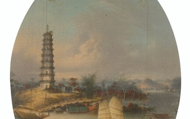 Attributed to Youqua (fl.1840-1870), A view at Bocca Tigris with a Customs junk, an American paddle-steamer and other shipping; The Whampoa Pagoda; and The Folly Fort at Canton