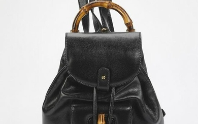 Authentic Gucci Black Leather Bamboo Backpack PM