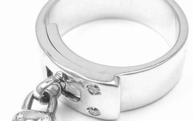 "Authentic! Hermes 18k White Gold Diamond ""H"" Lock Band"