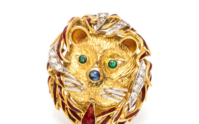 BICOLOR GOLD AND MULTIGEM LION BROOCH