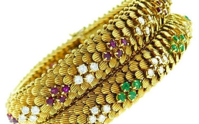 BVLGARI Yellow Gold BRACELET Pair 1960s with Diamond