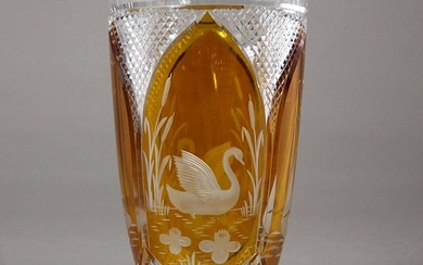 Bohemian Crystal and Amber Glass Vase Etched Swan, Boat