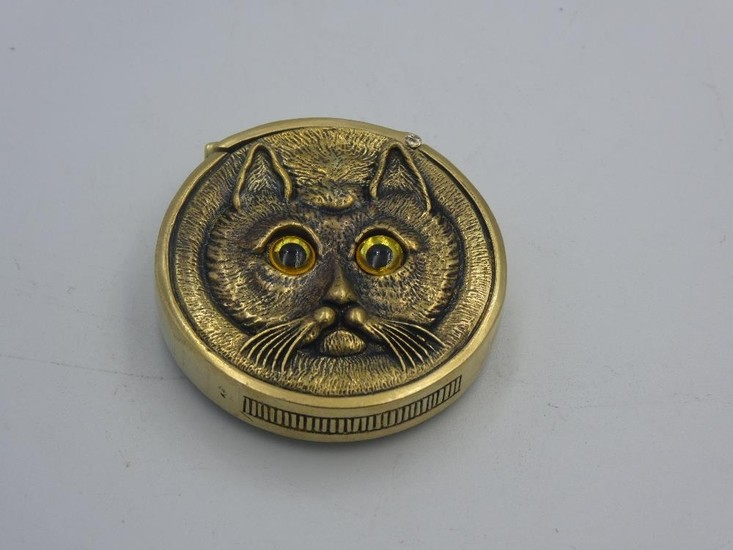 Brass cased vesta case in the form of a cat