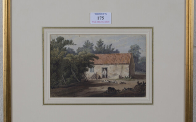 British School - View of a Farmstead, early 19th century watercolour, 11.5cm x 17.5cm, within a gilt