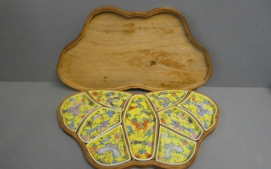 Butterfly shaped wooden boxed set of Chinese hors d'oeuvre d...