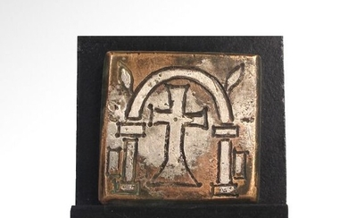 Byzantine Bronze and Silver Inlaid Weight with Cross and Weight-Mark