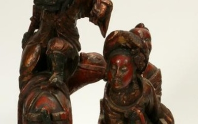 CHINESE CARVED WOOD LACQUERED SCULPTURE