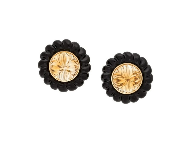 CITRINE AND ONYX EARCLIPS