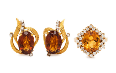 COLLECTION OF CITRINE AND DIAMOND JEWELRY