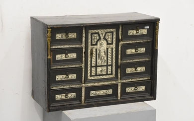 Cabinet in blackened wood inlaid with ivory with...