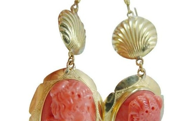 Carved Coral Cameo Earrings 18K Yellow Gold Italy