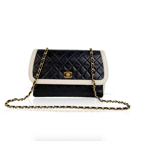 Chanel Vintage Blue and White Quilted Leather Shoulder