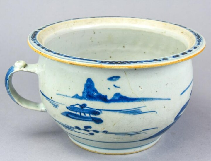 Chinese Blue & White Porcelain Chamber Pot