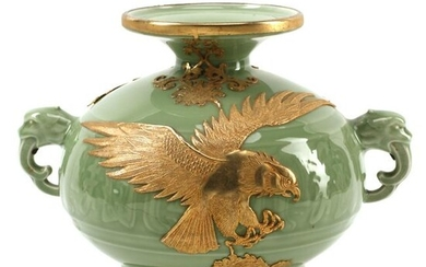 Chinese Celadon Porcelain Jar with Dore Bronze Mount.