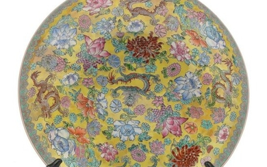 Chinese Yellow Porcelain Bowl, flowers & dragons. Fine