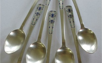 Chinese export silver enameled heavy large antique Spoons along with two Korean serving spoons A6WBE