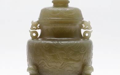 Chinese jar in carved jade, 20th Century.