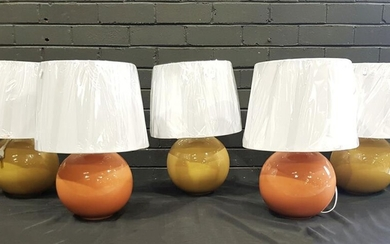 Collection of Five Table Lamps in Salmon and Mustard - 2837