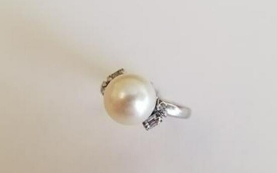 Cultured Pearl, Diamond, White Gold Ring. (shank