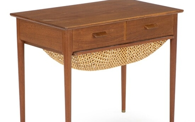 Danish furniture design: Sewing table of teak with pullout woven cane basket. Front with two drawers. H. 54 cm. L. 63 cm. W. 40 cm.