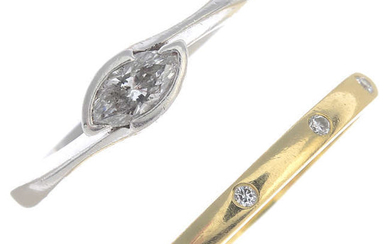 Diamond jewellery, comprising an 18ct gold ring, a platinum single-stone ring and a pendant.