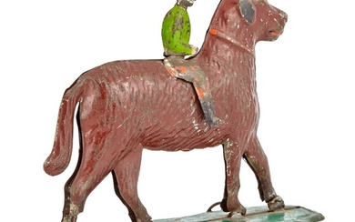 Dog and Rider Tin Pull Toy