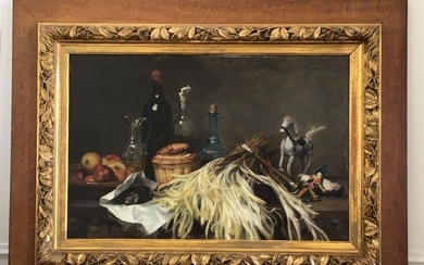ECOLE FRANCAISE Late 19th century Still life Oil on canvas signed top right Clotilde GREDELUE 54 x 81 cm