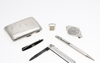 English cigarette case, stamp-like ring, pen, knife, tie needle and banknotes holder-pin in silver, mid 20th Century.