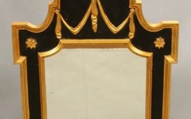 FEDERAL STYLE BLACK & GILT VERTICAL WALL MIRROR