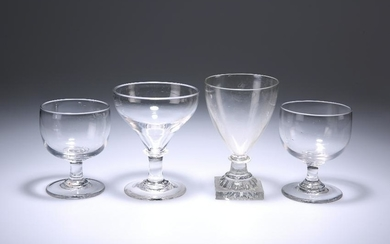 FOUR 19TH CENTURY GLASS RUMMERS, comprising a pair with