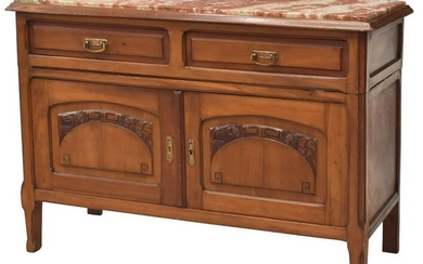 FRENCH ART NOUVEAU MARBLE-TOP WALNUT SIDEBOARD