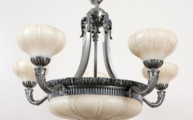 FRENCH CHANDELIER ALABASTER SHADES