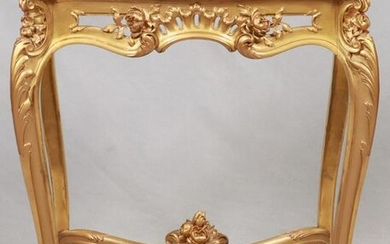 "FRENCH GILT WOOD & MARBLE TOP TABLE, H 29"", W 24"""