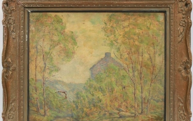 """FRENCH OIL ON CANVAS, 1911, H 20"""", W 24"""", VIEW OF HOUSE"""