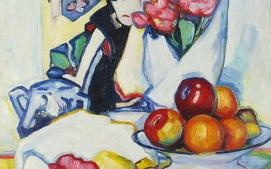 Figure with still life flowers and fruit, Scottish Colourist...