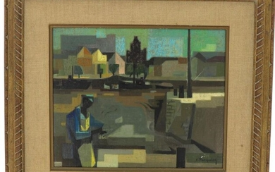 """Francis PASQUIER (1901-1969) """"La Rochelle in the early morning"""", oil on canvas, signed lower right, titled on the back, 38 x 46 cm (small lack of material lower right and scratch)"""