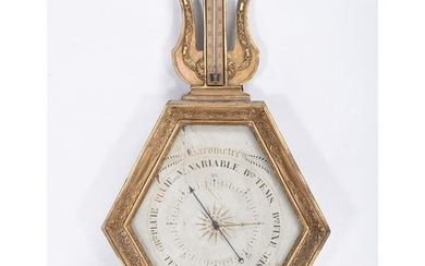 French LeliËvre Gilt-Wood Barometer and Thermometer.