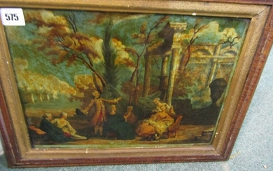 """GEORGIAN REVERSE GLASS PRINT, """"Painting"""" in early frame, 10""""..."""
