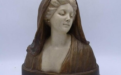 "GOLDSCHEIDER BUST OF A WOMAN ARTIST SGN. 13""H 10""W"