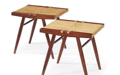 """George Nakashima (American, 1905-1990) A Pair of """"Grass-Seated"""" Stools,..."""