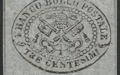 Italian Ancient States - Papal State 1867 - 2nd issue 3 cents grey with very good margins, intact wide edge - Sassone N.15