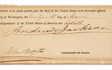 JACKSON, ANDREW. Clipped portion of a partly printed Document Signed, as President