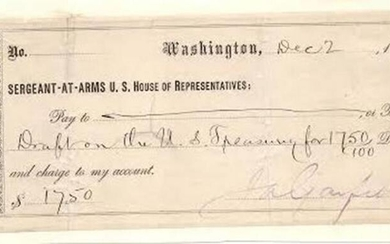 James Garfield Signs a Check For a Draft on the U.S.