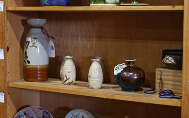 Japanese Three Shelves of Ceramics, Nabeshima, Oribe
