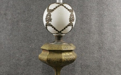 Large 19th C. Victorian Relief Brass Banquet Lamp