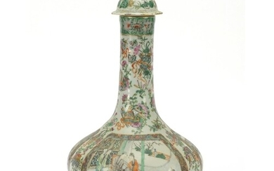 Large Chinese Canton porcelain vase and cover, finely hand p...