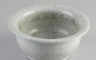 Large Chinese celadon bowl with white crackle glaze and