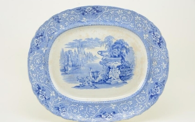 Large Staffordshire blue and white transfer decorated